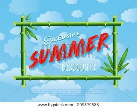 Exclusive summer discounts poster for retail network. Offer advertisement template, seasonal shopping, sale promotion vector illustration Discount proposition in bamboo frame on background of blue sky