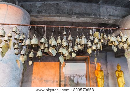 Many wish bells and hearts at Phuket Big Buddha area when under construction Phuket Thailand. It is the local landmark and a place for both tourists and devout Buddhists to visit.