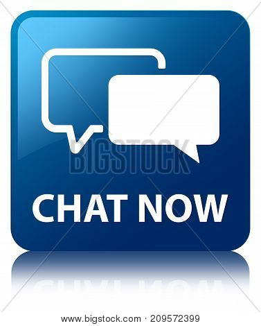Chat Now Blue Square Button