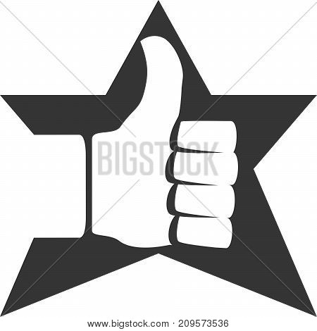 Positive Thumbs Up Star Approve Creative Vector Icon Shape. Service and Ratings. Customer and Client Care. Award Symbol for Achievement. Sign for Good Job at Work and Well Done at School. Button for Finish or Finished a Task or To-Do.