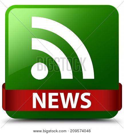 News (rss Icon) Green Square Button Red Ribbon In Middle