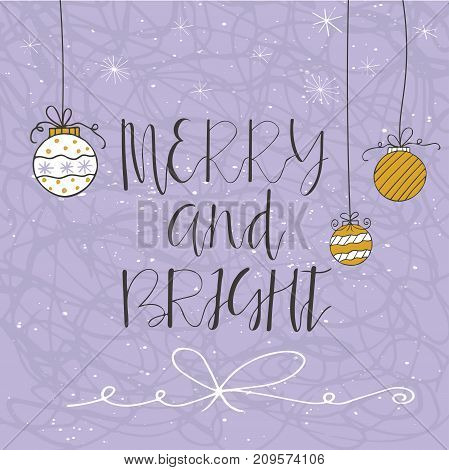 Merry Christmas Text On A Winter Background With Snow, Tree And Snowflakes