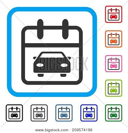 Car Day icon. Flat grey iconic symbol inside a light blue rounded rectangular frame. Black, gray, green, blue, red, orange color additional versions of Car Day vector.
