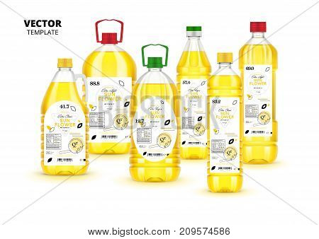 Extra virgin sunflower oil realistic plastic bottles with labels. Layout of food identity branding, modern packaging design. Healthy organic product, natural vegetarian nutrition vector illustration