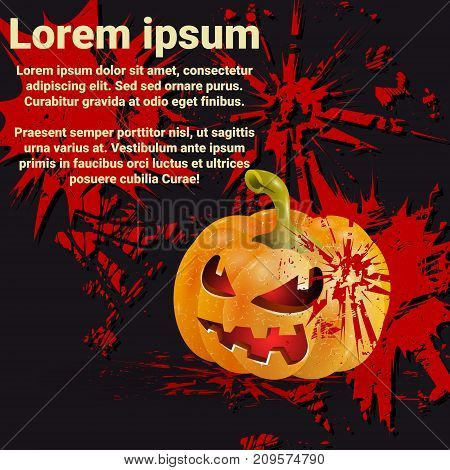 Halloween poster with place for text. Pumpkin on dark background. Vector illustration
