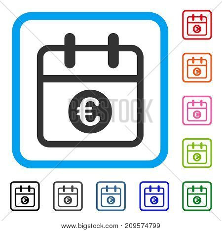Euro Day icon. Flat gray iconic symbol inside a light blue rounded square. Black, gray, green, blue, red, orange color additional versions of Euro Day vector.