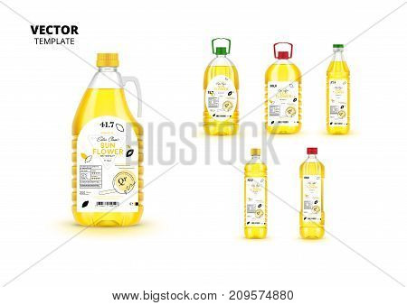 Extra virgin sunflower oil canned plastic bottles with labels. Layout of food identity branding, modern packaging design. Healthy organic product, natural vegan nutrition isolated vector illustration