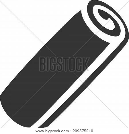 Towel Roll Filled Creative Vector Icon Shape. Bath, Carpet or Cloth, Micro Fiber, Mat, Yoga Mats, Paper, Shop, Clean or Cleaning, and Dry or Drying. Brand New, Logo Fresh. Customer Guest Client Service and Satisfaction. Sign for Maintenan
