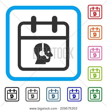 Operator Day icon. Flat gray pictogram symbol in a light blue rounded square. Black, gray, green, blue, red, orange color additional versions of Operator Day vector. Designed for web and software UI.