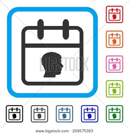 Personal Day icon. Flat gray pictogram symbol in a light blue rounded square. Black, gray, green, blue, red, orange color versions of Personal Day vector. Designed for web and application interfaces.
