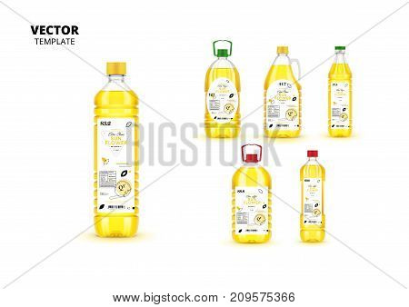 Natural extra virgin sunflower oil realistic plastic bottles with labels. Layout of food identity branding, modern packaging design. Traditional healthy product, organic nutrition vector illustration