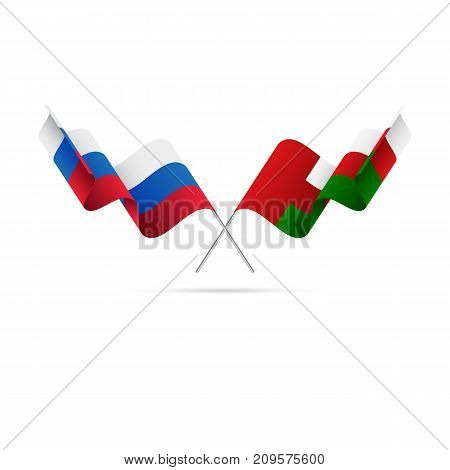 Russia and Oman flags. Waving flags. Vector illustration.