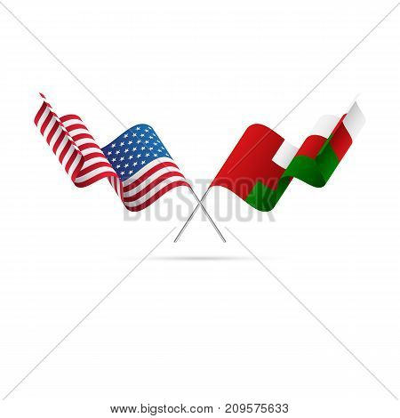 USA and Oman flags. Waving flags. Vector illustration.