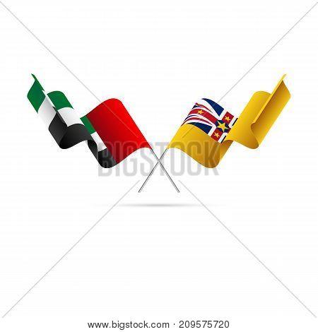 United Arab Emirates and Niue flags. Vector illustration.