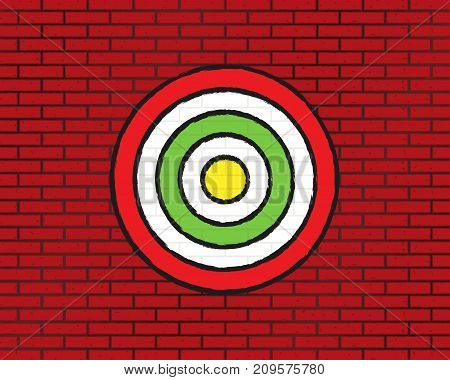 Target On Brick Wall, Round Target
