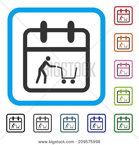Shopping Day icon. Flat gray iconic symbol inside a light blue rounded rectangle. Black, gray, green, blue, red, orange color versions of Shopping Day vector. Designed for web and software UI.
