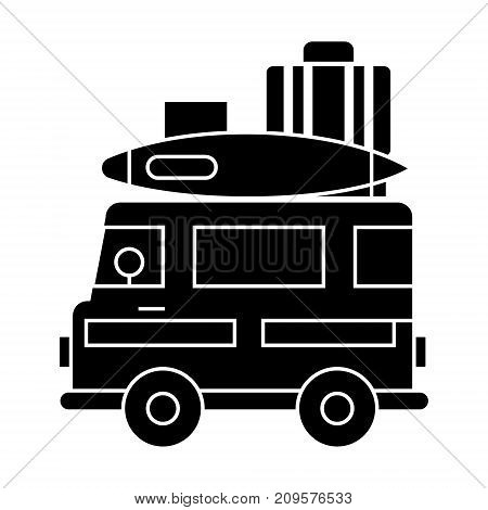 caravan, travel camping trailer  icon, vector illustration, black sign on isolated background