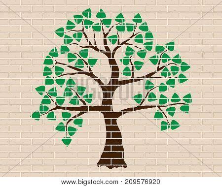 Tree Illustration On Beige-brick Wall. Brown Tree, Green Foliage