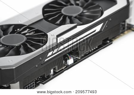 Video Graphics Card With Powerful Gpu Isolated On White Background. Might Be Used To Mine Cryptocurr
