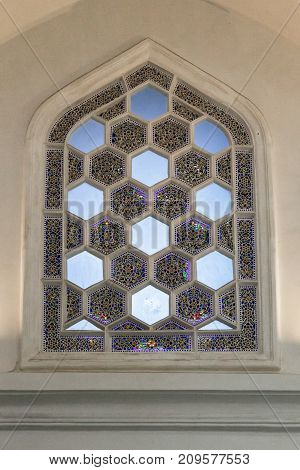 ISTANBUL, TURKEY - SEPTEMBER 13, 2017: This is a stained-glass window which is one of the examples of Turkish architecture windows of the 15th century (the Pavilion Chinili).