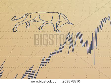 Stock chart and bull symbol. Financial concept.