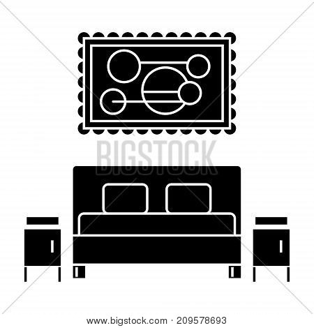bedroom  icon, vector illustration, black sign on isolated background
