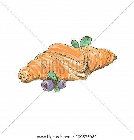 Two Croissants Bake Puff Pastry Color Flat Design On White Background.