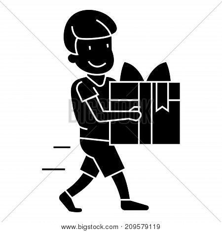 boy carring gift  icon, vector illustration, black sign on isolated background