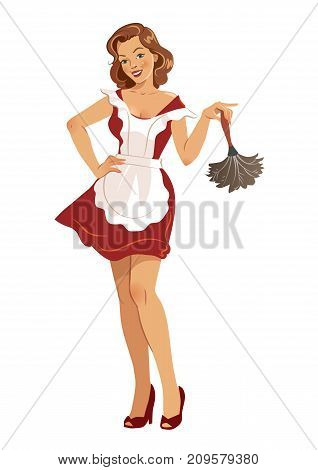 Vector illustration of a beautiful smiling young woman wearing high heels red dress and white apron holding a feather duster in vintage retro pinup girl style isolated on white.