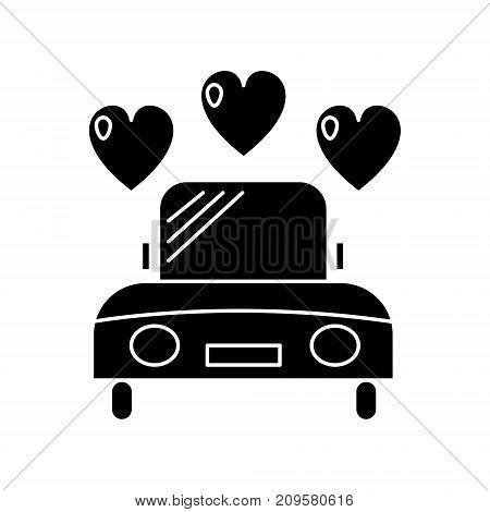car wedding  icon, vector illustration, black sign on isolated background