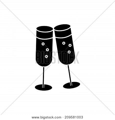cheers, wine glasses  icon, vector illustration, black sign on isolated background