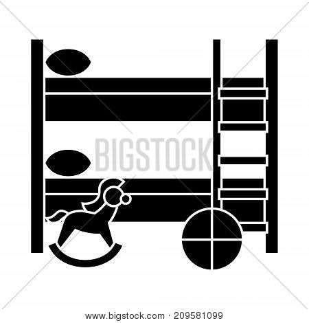 children room  icon, vector illustration, black sign on isolated background
