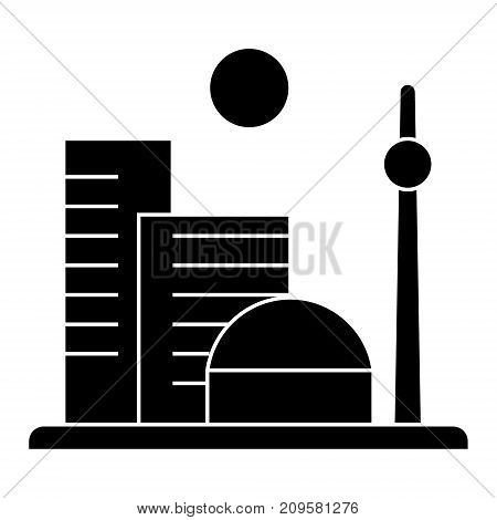 city big  icon, vector illustration, black sign on isolated background