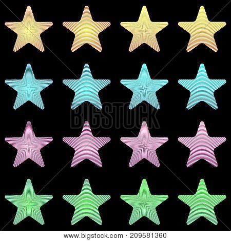 Rounded Star, White Star Collection With Stripes And Colored Gradient