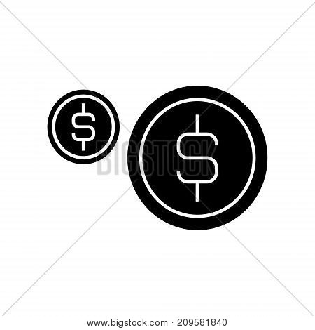 coins usd  icon, vector illustration, black sign on isolated background