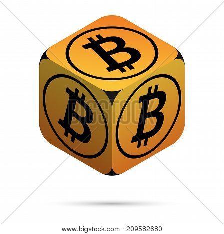 Bitcoin. Orange Bitcoin Cube