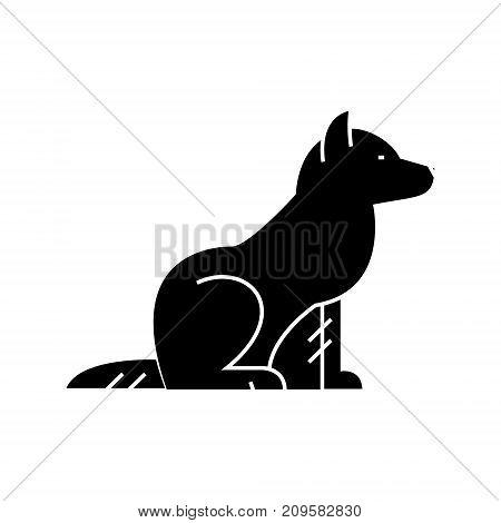 dog  icon, vector illustration, black sign on isolated background