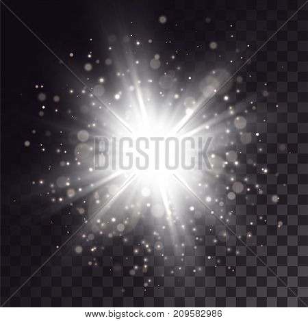 White explosion with light effects. Particles, sparkles, flares on dark transparent background.