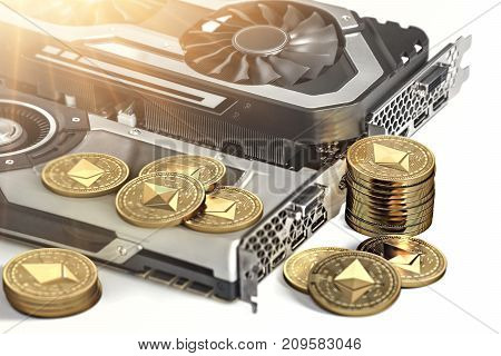 Ethereum mining. Using powerful Video cards to mine and earn cryptocurrencies concept. 3D illustration