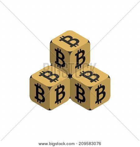 Bitcoin. Golden Small Bitcoin Pyramid