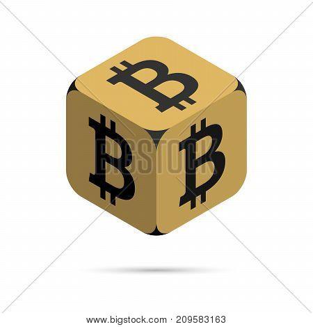 Bitcoin. Golden Bitcoin Cube