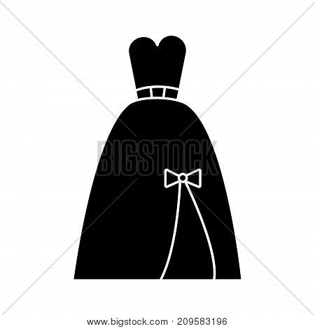 dress bridal, evening  icon, vector illustration, black sign on isolated background