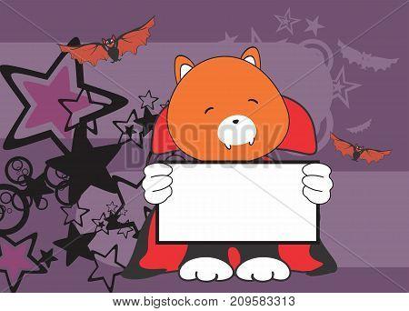sweet fox dracula costume halloween background in vector format