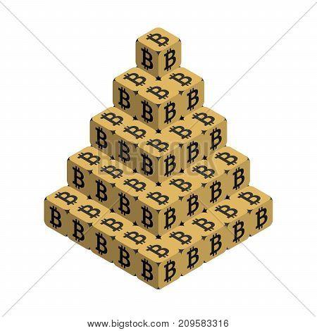 Bitcoin. Golden Large Bitcoin Pyramid