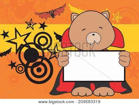 sweet teddy bear dracula costume halloween background in vector format