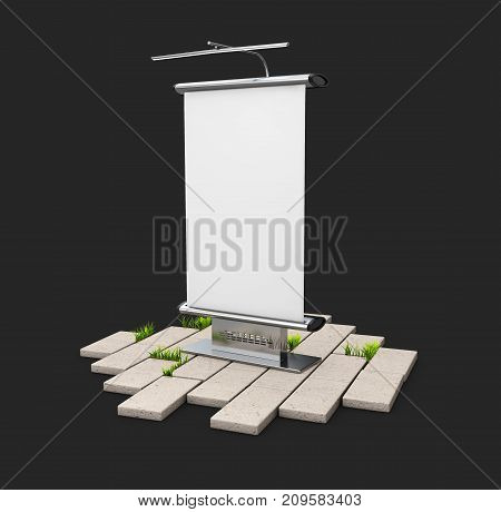 A Blank Outdoor Advertising Panel On The Cobblestone, Isolated On Black, 3D Illustration.