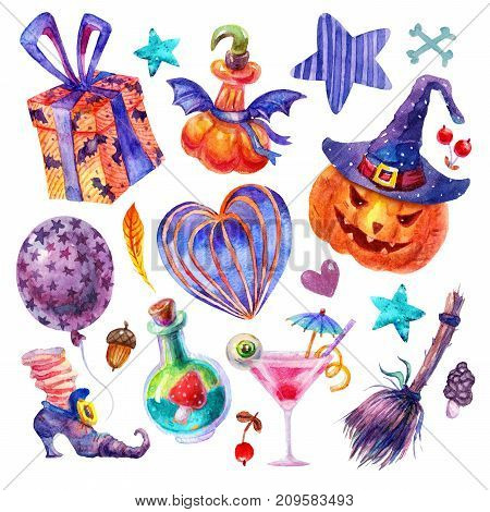 Cute Watercolor set halloween party. Balloon zombie cocktail gift star heart potion eye broom fly agaric pumpkin in hat berry leaf witch's boot bone illustrations isolated on white background