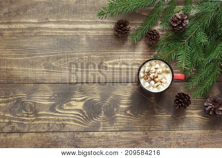 Christmas Hot Chocolate With Marshmallows On The Wooden Background. Top View With Copy Space.