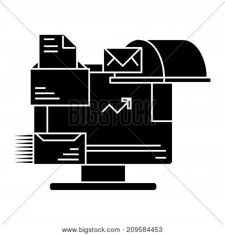 email marketing  icon, vector illustration, black sign on isolated background
