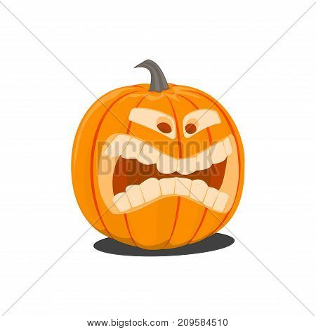 Vector color illustration of cartoon Halloween pumpkin with face on white background. Object image to create original web games, graphic design